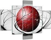 Glasschilderij Art   Rood, Grijs, Zwart   100x70cm 5Luik   Foto print op Glas    F005594