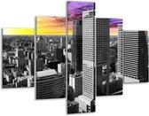 Glasschilderij Gebouw   Grijs, Geel, Paars   100x70cm 5Luik   Foto print op Glas    F002464