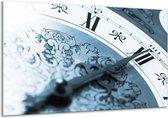 Schilderij | Canvas Schilderij Klok, Keuken | Blauw, Grijs | 120x70cm 1Luik | Foto print op Canvas