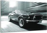Schilderij | Canvas Schilderij Auto, Mustang | Grijs, Groen, Zwart | 120x70cm 1Luik | Foto print op Canvas