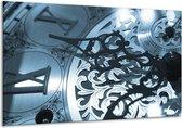 Schilderij | Canvas Schilderij Klok | Blauw, Grijs, Wit | 120x70cm 1Luik | Foto print op Canvas