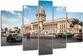 Glasschilderij Gebouw | Grijs, Blauw, Crème | 170x100cm 5Luik | Foto print op Glas |  F005733