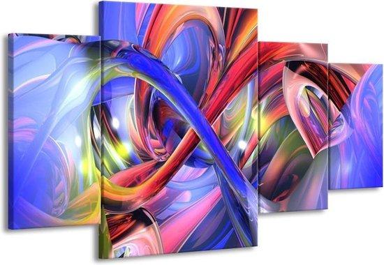 Canvas schilderij Abstract | Paars, Rood, Geel | 160x90cm 4Luik