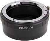 Pentax PK lens naar Canon EOS lensmontage opstapring (zwart)