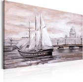 Schilderij - Charmante haven (print van handgeschilderd)