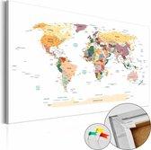 Afbeelding op kurk - Wereldkaart ,Wit/ Multi kleur , 1luik