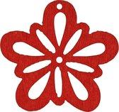 Bloem, rood, d: 27 mm, dikte 1,7 mm, 20stuks