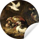 Behangcirkel - Eenden - Schilderij van Melchior d'Hondecoeter - 100x100 cm XXL