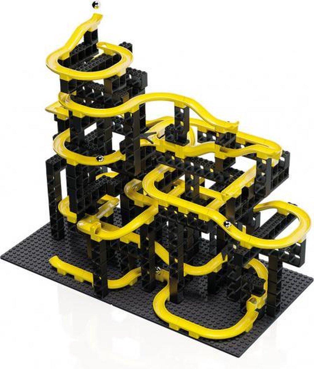 knikkerbaan bouwset zwart/geel 214-delig