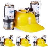 relaxdays 4 x drinkhelm voor 2 blikjes - helm - bierhelm - helm met slang - zuiphelm