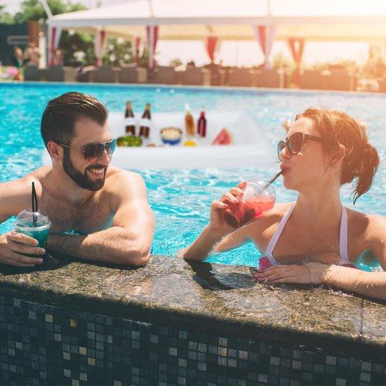 relaxdays Opblaasbare koeler - zwembad - luchtbed - opblaas beer pong - opblaasbare bar