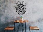 Houten Leeuw - Dierenkop Leeuw - Houten Dier - Geometrische Dieren - Wanddecoratie / Muurdecoratie - Zwart - 48cm