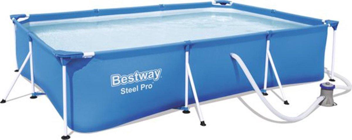 Bestway zwembad - rechthoek 300x200x66cm - 3300 L - Opzetzwembad - Frame Pool - Inclusief Pomp
