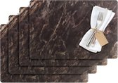 Westmark Set Placemats, 4-delige Set, Saleen Collectie MARMOR - Zwart - 43,5 x 30 cm