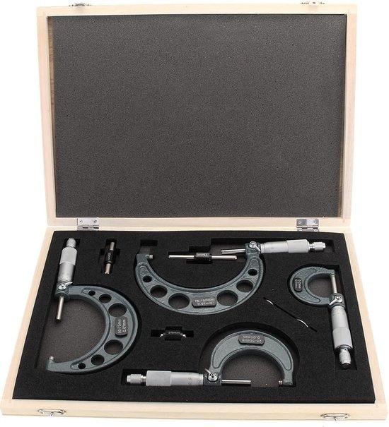 4-delige 0-100 mm metrische externe precisie-micrometer Meten Caliper Met Case