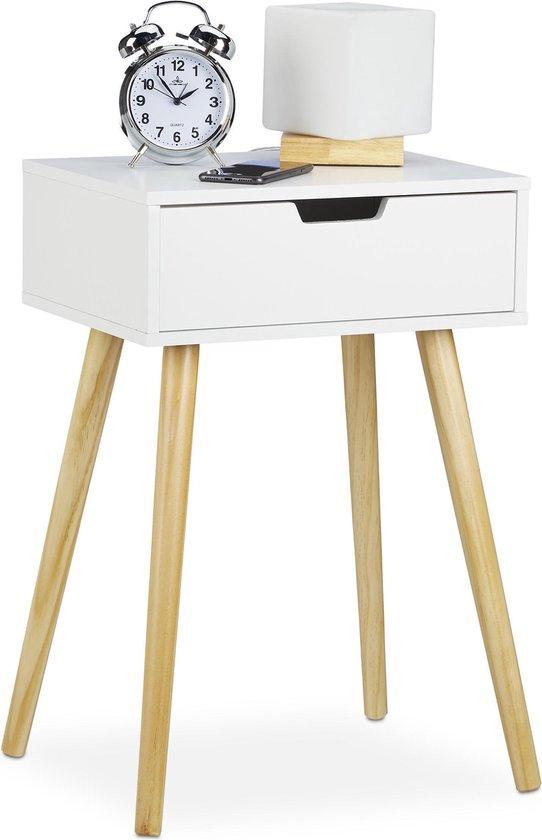 relaxdays nachtkastje wit - nachtkast - met lade - hout - 60 cm hoog - modern
