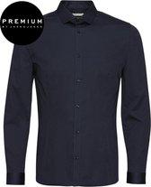 Jack and Jones Premium Heren Overhemd Parma Navy Satijn Super Slim Fit - M