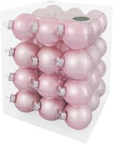 Decosy Glas Kerstballen - 6cm - Box 36 Stuks - Powder Pink Combi