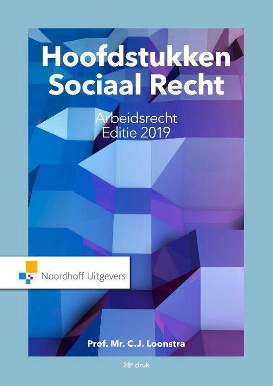 Boek cover Hoofdstukken sociaal recht editie 2019 van Prof.Mr.C.J. Loonstra (Paperback)