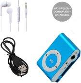 Mini MP3 Speler met Oordopjes en USB Kabel Blauw