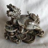 Feng Shui de draken-schildpad met baby (13x9x11cm) brengt acht soorten geluk, maar vooral rijkdom. grijsbruin