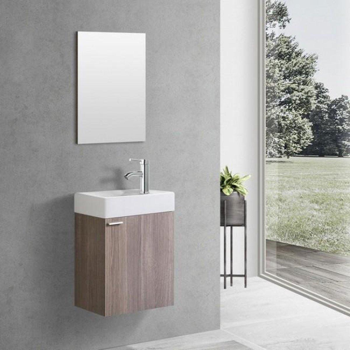 Toiletmeubel Creavit Aloni Hangend Rechtsdraaiend 40x60x22cm MDF Oak Softclose Keramiek Wasbak