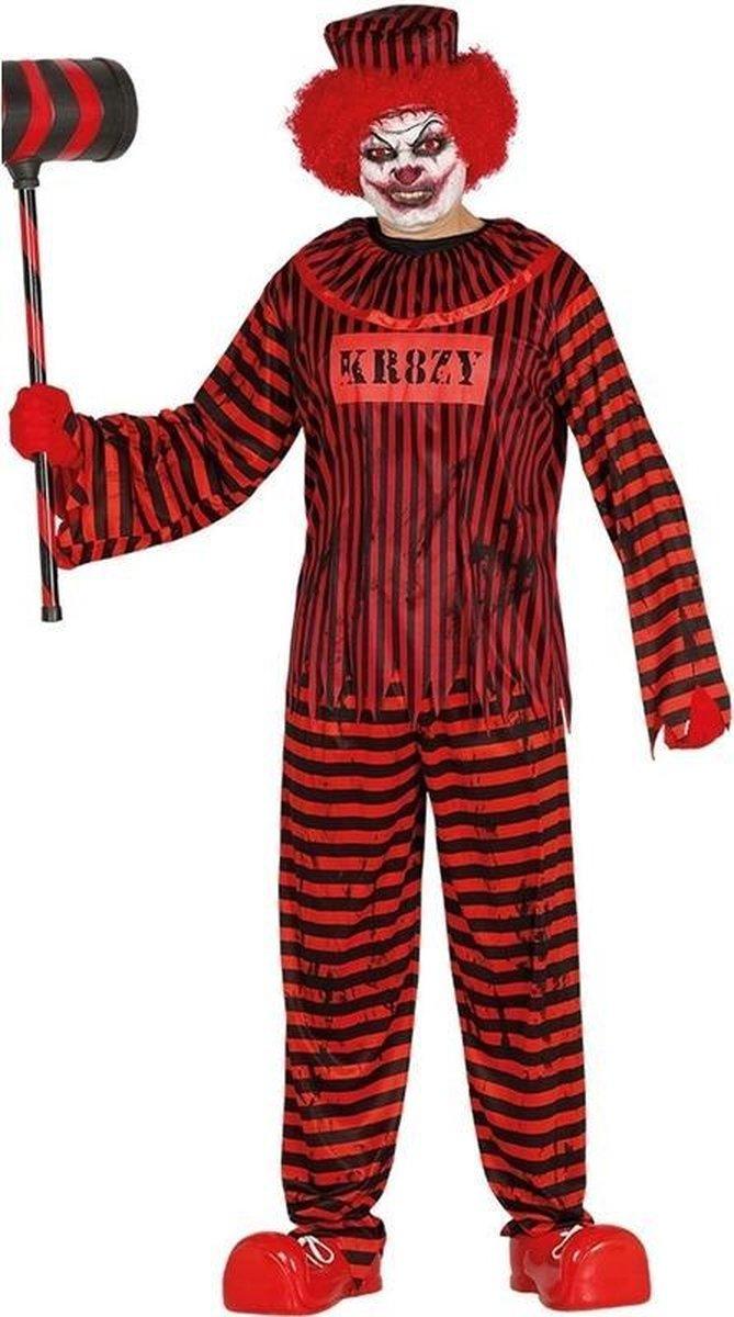 Horror clown gevangene verkleed kostuum rood/zwart voor heren - Killer clownspak - Halloween verkleedkleding L (52-54)