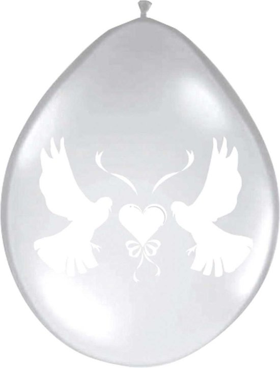 Romantische Duiven Trouwballonnen Transparant - 8 stuks