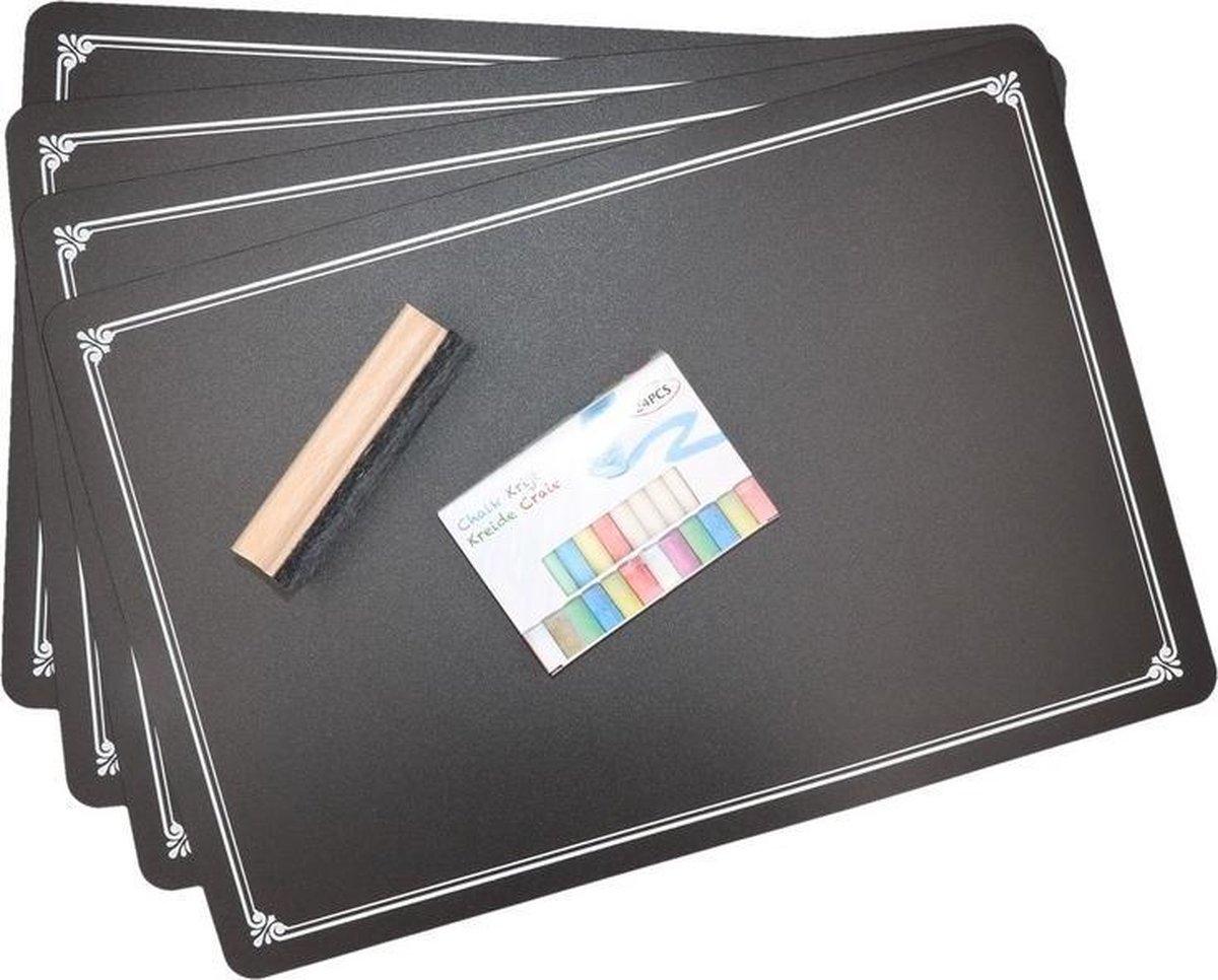 4x Krijtbord placemats met krijtjes en wisser - Merkloos
