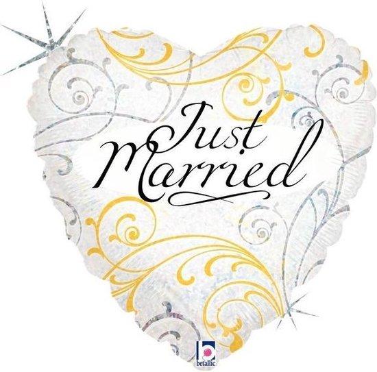 1 Gevulde Helium Ballon in een doos, Huwelijk Trouw Just Married, hart. Vorm van een Hart