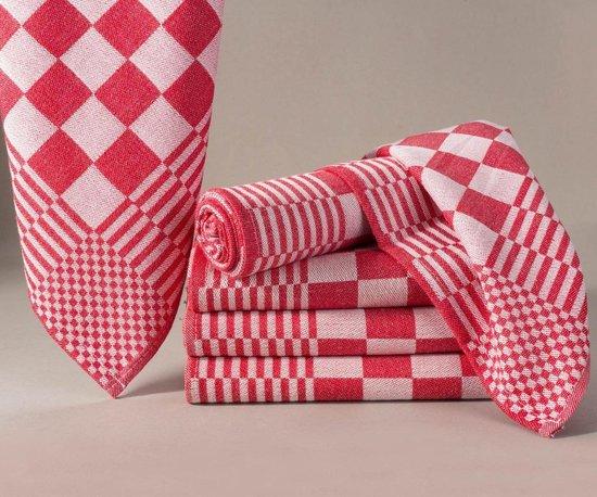Homéé - Blokdoeken pompdoeken theedoeken rood / wit  set van 12 stuks   65x65cm