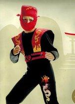 DREAMLAND - verkleedkleding - Thema: Ninja - Kleur: Rood - 3 delig - Maat 110