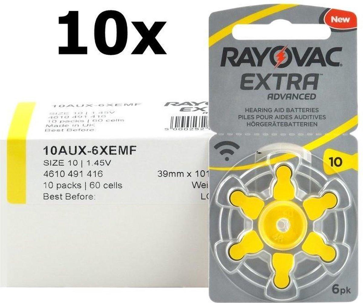 60 Stuks (10 Blisters a 6St) - Rayovac Extra Advanced 10MF Hg 0% Gehoorapparaat batterijen 1.45V