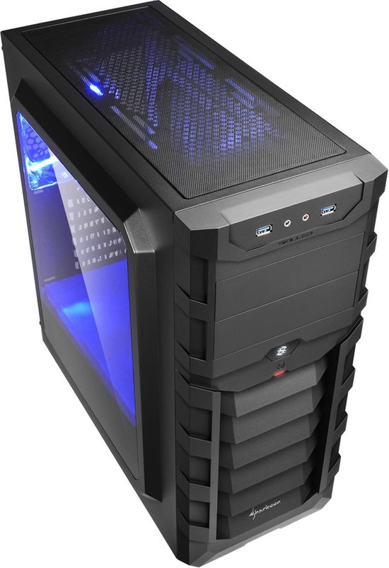 Sharkoon SKILLER SGC1 Window Midi ATX Tower Zwart, Blauw