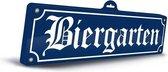 Oktoberfest - Biergarten muur/wand decoratie 48 x 15 cm Oktoberfest - Bierfeest feestartikelen versiering - Straatnaam bordjes