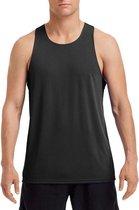 Sport hardloop singlet zwart voor heren - Heren sportkleding hemd/top zwart L (40/52)