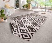 Binnen & buiten vloerkleed ruiten Malta - zwart/crème 200x290 cm