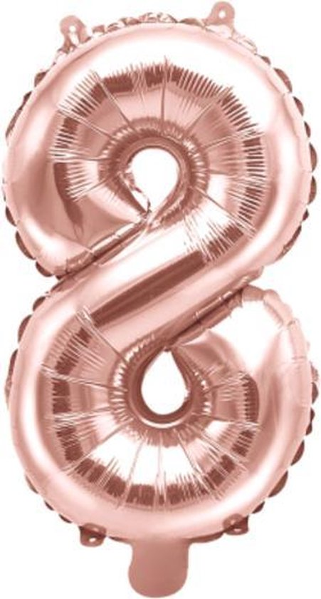 Folieballon XL - 81cm - Cijfer 8 - Rose