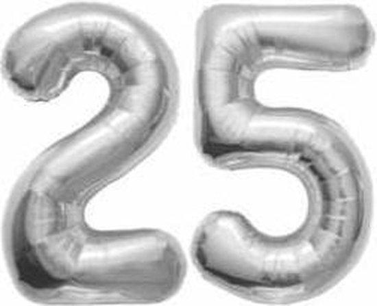 25 jaar | Cijfers | Zilver | 100 cm hoog | Folieballon | Feestversiering | Verjaardag | Versiering | Bruiloft | Feest | Folieballonnen