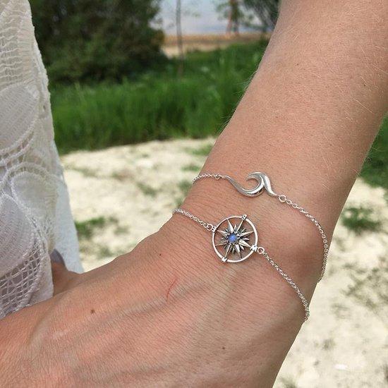 My Unique Style Armband Kompas maansteen - 925 zilver