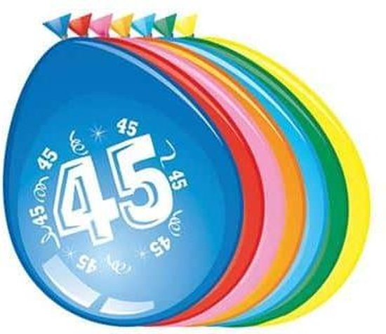 Ballonnen 45 jaar - 30cm - 8st