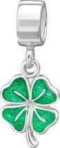 Groene klaver 4 bead   Bedel   Zilverana   geschikt voor Biagi , Pandora , Trollbeads armband   925 zilver