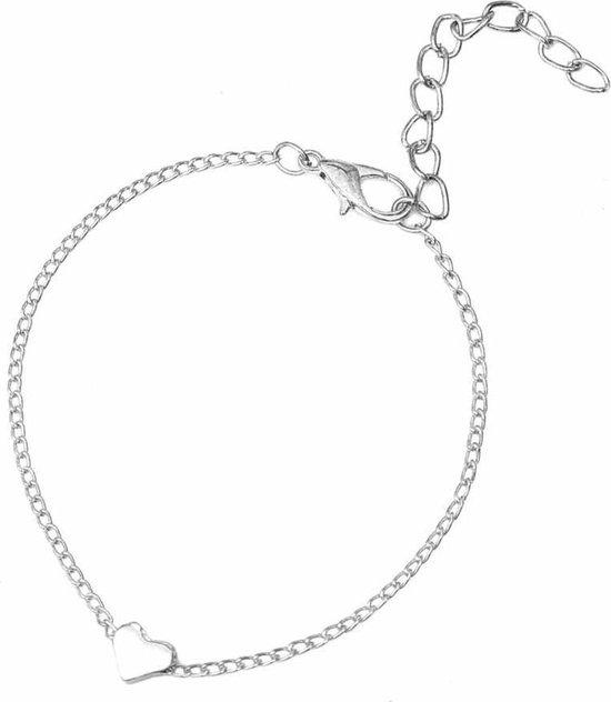 Sieraden armband hart hartjes heart liefde subtiel minimalistisch - Dames - Zilverkleurig - 15 cm