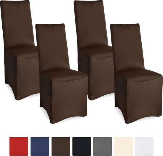 "Beautissu stretch stoelhoes ""Leona"" Set - 4 Stuks 95x45x45cm bruin"