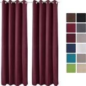 Beautissu Isolerende Gordijnen - Curtains met Ringen - Thermische Gordijnen Verduisterend -Set van 2 - Amelie Luna TO - 140x245cm Bordeaux