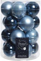 Glas Kerstballen Mix (6cm) Box 20 Stuks Blauw