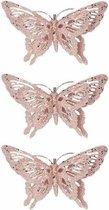 3x Kerstboomversiering roze glitter vlinder op clip 15 cm - Decoratie vlinders roze glitters 3 stuks