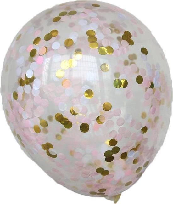 DW4Trading® Ballonnen roze wit goud mix set van 5