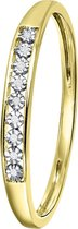 Lucardi - Diamond Luxury - 14 Karaat witgouden ring met diamant (0,02ct)