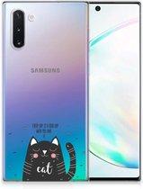 Telefoonhoesje met Naam Samsung Galaxy Note 10 Cat Good Day